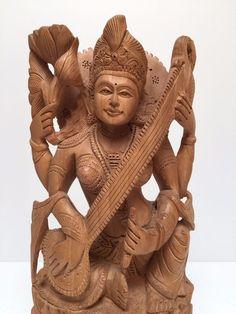 Fairtrade Handmade Carved Rare Wooden Hindu Goddess Saraswati Indian Sculpture  | eBay