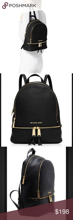 Michael Kors Rhea Backpack Authentic Michael Kors Rhea Zip Small Backpack: Two large compartments with a top zip closure. Top handle. Adjustable backpack straps. Front exterior features zipper pocket. Lined interior features one zipper pocket and slip pocket on backwall and two frontwall slip pockets in larger back compartment. Thank You for your Interest!! ❌NO Trades❌ Price FIRM, Use the Bundle Discount: 4️⃣Items=20%OFF!! ✨Can't find 4️⃣you like? Ask me to make you a custom BUNDLE. Michael…