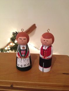 Set of boy and girl wood Norwegian dolls ornaments or wedding cake toppers