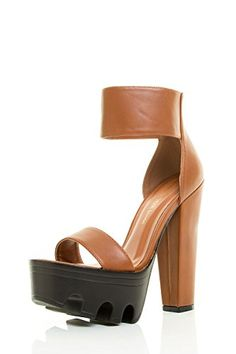 f705919f5d6b92 Wild Diva Womens Open Toe Ankle Cuff Lug Platform Chunky High Heel Sandal  Shoes 75 Cognac