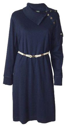 Lauren Ralph Lauren Thoroughbred Long Sleeve Dress (3X (Plus Size), Thoroughb... 100% Cotton; Exlusive of Decoration. Thoroughbred Navy; Lond Sleeve. Ribbed sleeve cuffs & flap collar;Six button collar. Button close pocket on one sleeve;. Double rope & buckle waist tie.  #RALPH_LAUREN #Apparel