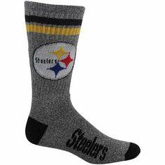 Pittsburgh Steelers Marbled Two Stripe Crew Socks - Charcoal
