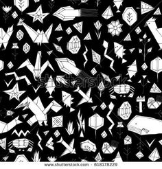 Spring Summer geometric seamless pattern with animals and plants, black contours decorative contemporary elements Stylized origami. print, trendy backdrop background for site, blog, fabric. Vector