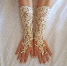 Long champagne gold or Ivory Wedding gloves free ship bridal fingerless french lace arm warmers cuff gauntlets fingerloop, Long lace glove