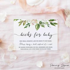 """White Vintage Rose """"Books for Baby"""" Baby Shower Card Baby Shower Cards, Baby Cards, Baby Shower Parties, Baby Shower Gifts, Christening Invitations, Baby Shower Invitations, Elegant Cursive Fonts, Gender Neutral Baby Shower, Invitation Envelopes"""