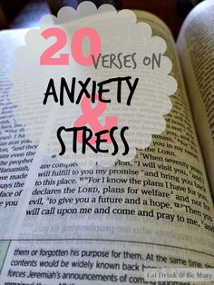 20 Verses on Anxiety & Stress [Let Go & Let God via Eat Drink & Be Mary].      #anxiety, #stress, #scripture, #anxietyverses, #verses, #leanonGod, #Godstiming, #jeremiah29:11, #proverbs3:5, #matthew6:27, #pslam62:8, #romans8:18