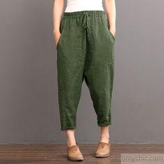 Green Linen pants summer crop pants elastic waist