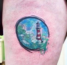 Watercolor Lighthouse Tattoo Design by Joanne Baker