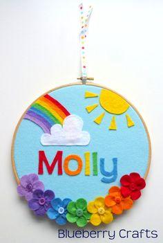 Rainbow Personalised Hoop Decoration on Etsy, $26.66