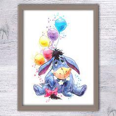 Eeyore Winnie the Pooh watercolor print Disney by ColorfulPoster