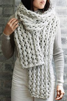 Free Knitting Pattern for 4 Row Repeat Affirmations Scarf - Chunky lace scarf kn. Free Knitting Pattern for 4 Row Repeat Affirmations Scarf - Chunky lace scarf knit in a 4 row repeat. Chunky Knitting Patterns, Shawl Patterns, Knitting Stitches, Free Knitting, Knitting Scarves, Finger Knitting, Knitting Machine, Snood Pattern, Lace Scarf
