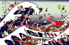 "Tomoko Nagao -  Hokusai ""The Great Wave of Kanagawa"" with mc, cupnoodle, kewpie, kikkoman and kitty"