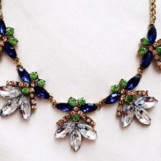 Clear crystal, blue and green statement necklace Beautiful statement necklace, a member at for your jewelry collection! Measures 20 inches with 2.5 inch extender chain. Sorry  No trades but all reasonable offers are welcome :) Boutique Jewelry Necklaces