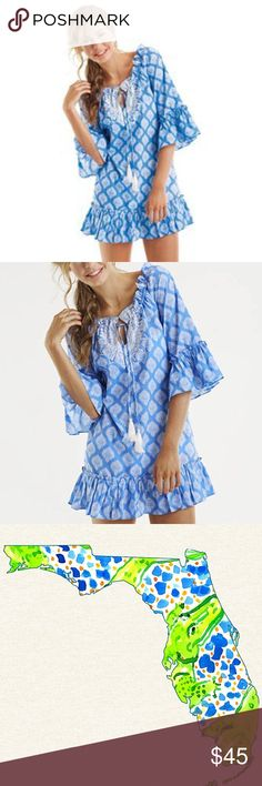 NEW Blue Jaipur Cotton Ruffle Cover Up! NWT💙Cotton voile 3/4 sleeve ruffled cover-up has white embroidery at neckline with adjustable tasseled drawstring. Hits at mid-thigh.💙Mud Pie Size M💙100% Cotton! Sooo cute and comfy! Can be worn as a dress too! Mud Pie Swim Coverups