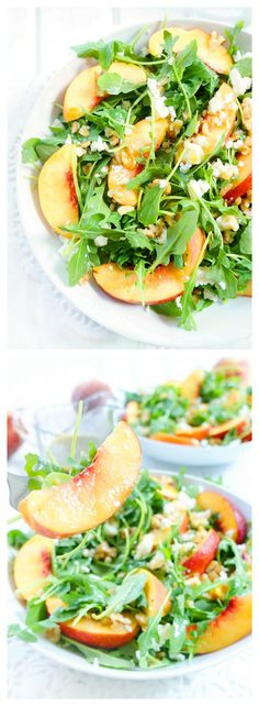 Healthy Living This arugula and nectarine salad with a fresh basil dressing is a gorgeous and delicious salad for summer or fall! The colours and flavours will definitely brighten up your menu! Gluten-free and vegetarian Cooking Recipes, Healthy Recipes, Healthy Food, Arugula, Salad Ingredients, Summer Salads, Soup And Salad, Summer Recipes, Salads