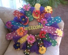 My 2nd Flip Flop Wreath...  A little bit different than the 1st one (black flops)