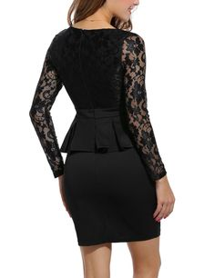 ANGVNS Womens Lace Sleeve Formal Office Peplum Dress Black M     More info  could f09f11223