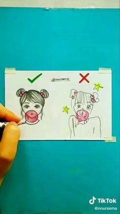 Cute Easy Drawings, Art Drawings Beautiful, Girly Drawings, Art Drawings Sketches Simple, Pencil Art Drawings, Girl Drawing Sketches, Doodle Drawings, Art Drawings For Kids, App Drawings