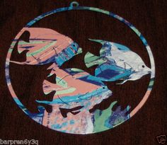Vtg Psychedelic Swirl Angel Fish Wall Hanging Metal Plaque Blue Pink Purple Fish on eBay!