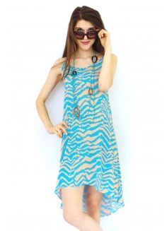 Dress Neon Zebra in Turquoise and Tan