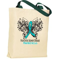 Polycystic Kidney Disease Awareness Tote Bags #PolycysticKidneyDisease #PolycysticKidneyDiseaseRibbon #PolycysticKidneyDiseaseAwareness Down Syndrome Ribbon, Down Syndrome Awareness, Cerebral Palsy Awareness, Leukemia Awareness, Leukemia Ribbon, Giant Cell Arteritis, Aplastic Anemia, Polycystic Kidney Disease, Butterfly Shirts
