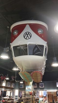★ Visit ~ MACHINE Shop Café ★ '56 hanging upside down at Jack's Surf Shop in Newport Beac