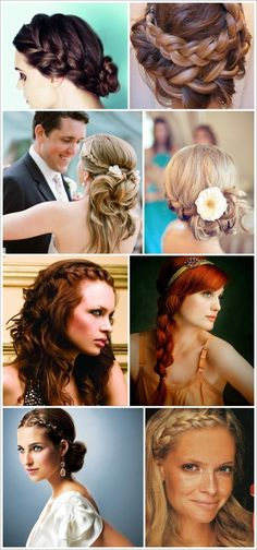 I really like the 2nd down from the top on the right (side braid with flower and messy curls.....IDK if all my think straight hair would do that though