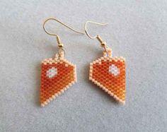 Slice of Pumpkin Pie Earrings in delica seed beads
