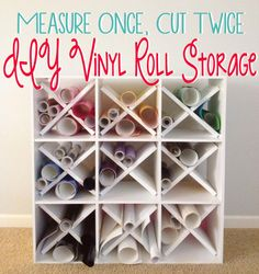 Measure Once, Cut Twice: DIY Vinyl Roll Storage using a #MarthaStewart bookshelf.