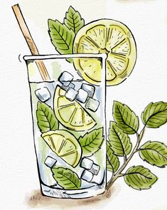 food drawing How to Make a Mojito Illustration Art And Illustration, Watercolor Illustration, Watercolor Paintings, Building Illustration, Watercolor Food, Watercolor Journal, Watercolors, Marker Kunst, Marker Art