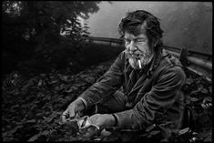 John Cage collecting mushrooms, Grenoble, France, Spring 1972. Photo: James Klosty.