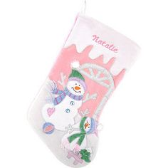 Personalized Baby Girl Snowman Stocking