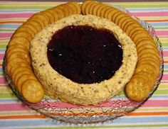 Plains Cheese Ring with Strawberry Preserves and Crackers... A Carter family favorite and great for entertaining during the holidays!