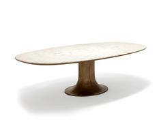 Roberto Lazzeroni Mizar Table - With a strong visual impact, Mizar is a series of oval tables with a base of cast bronze, the edges of which are in the same shade, giving a natural effect.