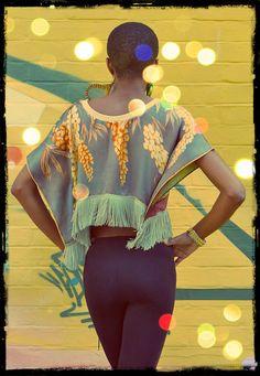 Upcycled Silk Scarf Kimono Fringed Print Crop Top by darrylblack