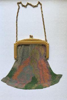 Whiting & Davis Art Deco Multi-color Floral Mesh Bag TIL4t