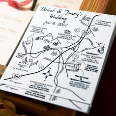 Guests received Wedding Weekend invites that listed all the party information and had special pockets for a hand-drawn map that gave directions to each event, as well as other local interest spots.