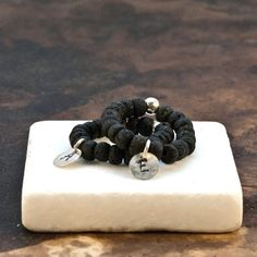 Initial Personalized Ring Black Lava Rock by PiscesAndFishes Greek Jewelry, Personalized Rings, Sterling Silver Flowers, Beaded Rings, Minimalist Necklace, Adjustable Ring, One Ring, Initial Charm, Black Rings