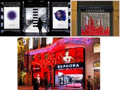 Sephora has a very distinctive brand image. They strictly use only the colors black, white and red throughout their stores and website designs. Customers automatically think of their black and white striped visuals with tints of red when they think 'Sephora.' These colors deliver a clean yet exciting brand image that goes along well with their products which includes high-end luxury cosmetics.