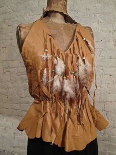 70s Leather Halter Top  Custom Made  Beads by ChelseaGirlNYC, $90.00