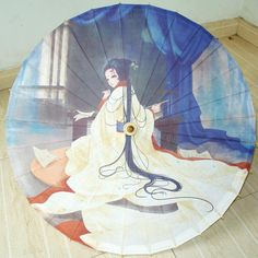 Chinese Style Anime Characters Parasols Bamboo Paper Craft Umbrella China Traditional Dance Color Parasol Japanese Wedding Props #Affiliate
