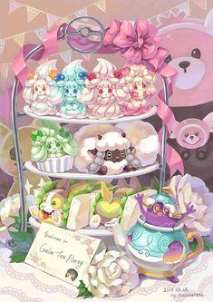 Pokémon Sword and Shield, wooloo, pokemon / Galar Tea Party☕️🍰 - pixiv Pokemon Fan Art, Pokemon Comics, Pokemon Memes, All Pokemon, Pokemon Fusion, Pokemon Fairy Type, Pokemon Cards, Kawaii Drawings, Cute Drawings