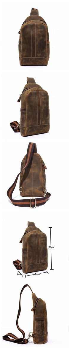 Handmade Unbalance Backpack Mens Cowhide Leather Messenger Bag Outdoor Chest Bag