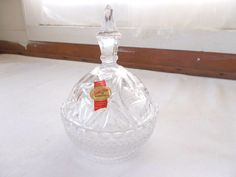 Anna Hutte Bleikristall Lead Crystal Covered Dish Candy Trinket W. Germany #AnnaHutte