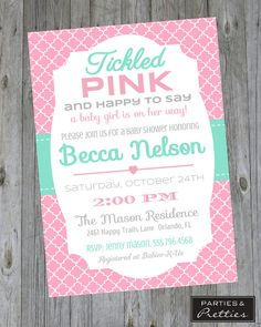 Baby Shower Invitation - Tickled Pink - Girl -  preppy baby shower, pink baby shower, girl baby shower, baby shower girl, baby shower invitation, baby shower invitations, baby shower invite, cute baby shower, pretty baby shower, girly baby shower, feminine baby shower, pink and turquoise baby shower