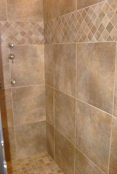 Tile Shower- tile pattern Home Depot Bathroom Tile, Best Bathroom Tiles, Bathroom Wall, Neutral Bathroom, Bathroom Cabinets, Bathtub Tile, Bathroom Modern, Bathroom Vanities, Shower Tile Patterns