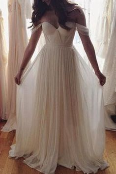 Elegant off-shoulder white chiffon prom dress, ball gown, prom dresses long