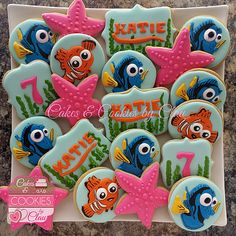 Finding Dory Cookies Finding Elmo Cookies Third Birthday Girl, 2nd Birthday Parties, Birthday Party Decorations, Baby Birthday, Birthday Ideas, Birthday Cookies, Elmo Cookies, Sugar Cookies, Baby Shower