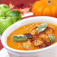 Spiced Pumpkin & Butter Nut Squash Soup with Caramelized Apples   This is delish! Perfect except for the apples. Photos shows sliced, recipe says diced. Was not a fan to have apples as a topper.