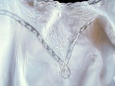 Vintage French Nightgown in Fine Cotton Batiste Lace and Embroidery